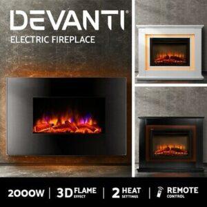 2000W Electric Fireplace Mantel Fire Heater | 3D Log Flame Effect