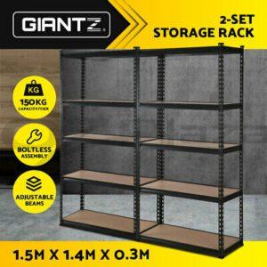 Giantz 2x1.5M Warehouse Rack Shelving Racking Storage Garage Steel Shelf  | eBay