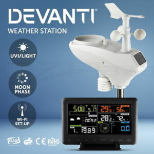 Weather Station Indoor Outdoor Wireless WiFi Rain Gauge Solar Sensor UV  | eBay
