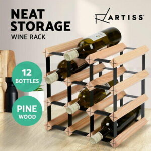 12 Bottle Timber Wine Rack Wooden Storage System Cellar Organiser Stand | eBay