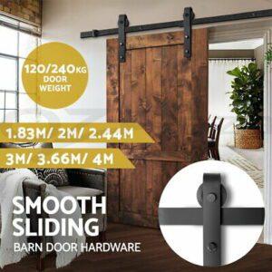 Sliding Barn Door Hardware 1.83/2/2.44/3/3.66/4M Track Set Roller Kit  | eBay