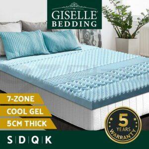 Giselle Memory Foam Mattress Topper COOL GEL Bed BAMBOO Cover 5CM 7-Zone  | eBay