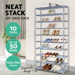 10 Tier Shoe Rack Racks Cabinet Storage Shelves Shoes Stand Organiser  | eBay