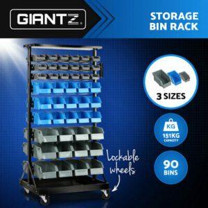90 Bin Workshop Parts Storage Rack Work Garage Tools Parts Shelving Wheels | Products On Sale