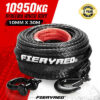 10,950KG  Recovery Winch Rope 10MM x 30M Dyneema SK75 Hook Synthetic Car Tow  Cable Black 9356307002898