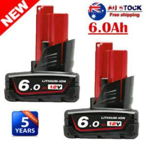 2X Milwaukee M12 Lithium Cordless 12V Battery Pack 48-11-2440 48-11-2412   6Ah